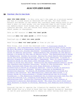 fillable online akai vcr user guide akai vcr user guide fax email rh pdffiller com Panasonic VCR Akai VCR Silver