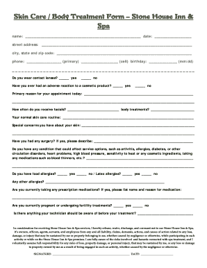 Skin Care / Body Treatment Form - Stone House Inn and Spa