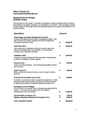 Sample Public Art Artist Budget COMPLETE Fill Online, Printable