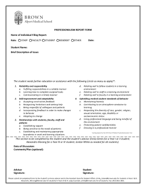 PROFESSIONALISM REPORT FORM Date: The student needs ...