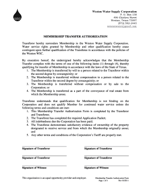 Fillable Online New Owner Agreement Form 2 3 Weston Water Supply Corporation Fax Email Print Pdffiller