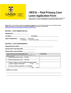 Fillable online leave application form hr51a paid primary carer rate this form altavistaventures Gallery