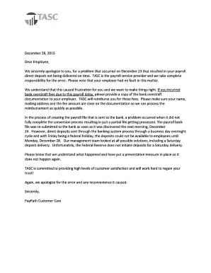 Payroll Apology Letter -Employees Fill Online, Printable