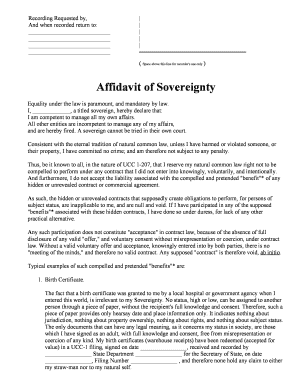 Affidavit of Sovereignty The Spoonfed Truth Fill Online Printable