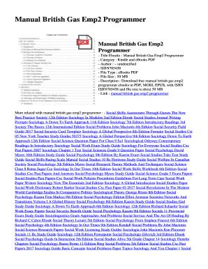 Fillable Online Manual British Gas Emp2 Programmer  Manual