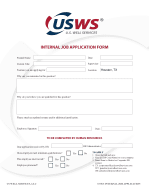 fillable online usws internal job application us well services fax