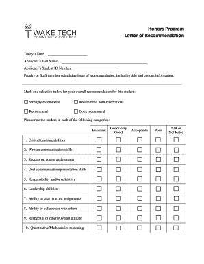 recommendation letter template honors program