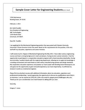 sample cover letter for students applying for an internship - Edit ...