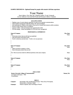 sample resume 4 optional format for people with extensive full time experience