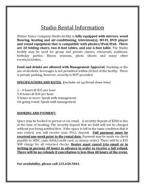 Fillable Online Studio Rental Agreement Winter Dance