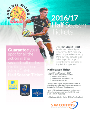 Fillable Online Download The Half Season Ticket Application Form Exeter Chiefs Fax Email Print Pdffiller