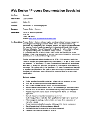 Fillable Online Web Design Process Documentation Specialist Fax Email Print Pdffiller
