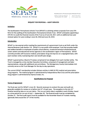 Fillable Online SEPaST Audit Request for Proposal - SouthEastern