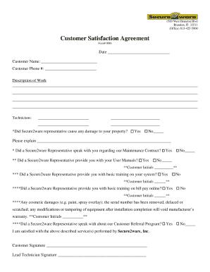 Fillable Online Customer Satisfaction Agreement