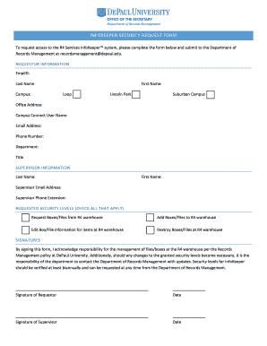 Fillable Online INFOKEEPER SECURITY REQUEST FORM - DePaul