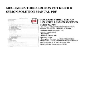 Fillable Online MECHANICS THIRD EDITION 1971 KEITH R SYMON