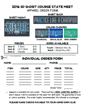 Fillable Online team swimsuit order form - TeamUnify Fax