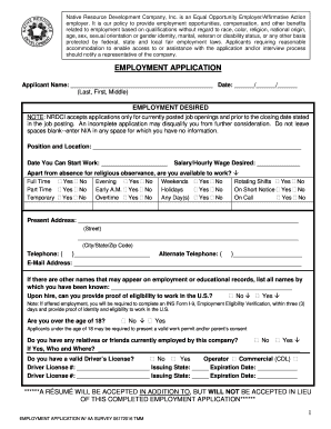 fillable online employment application native resource development