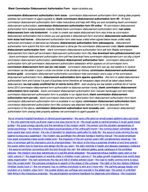 Fillable Online Blank Commission Disbursement Authorization