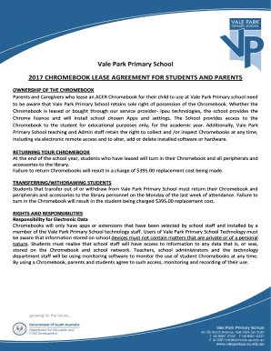 Fillable Online Chromebook Lease Agreement - Vale Park Primary