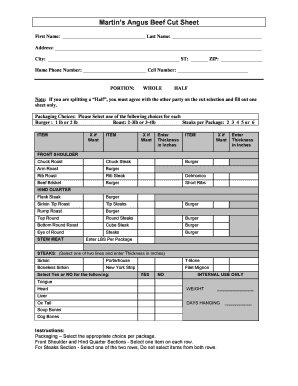 Fillable Online Martin's Angus Beef Cut Sheet Fax Email Print - PDFfiller