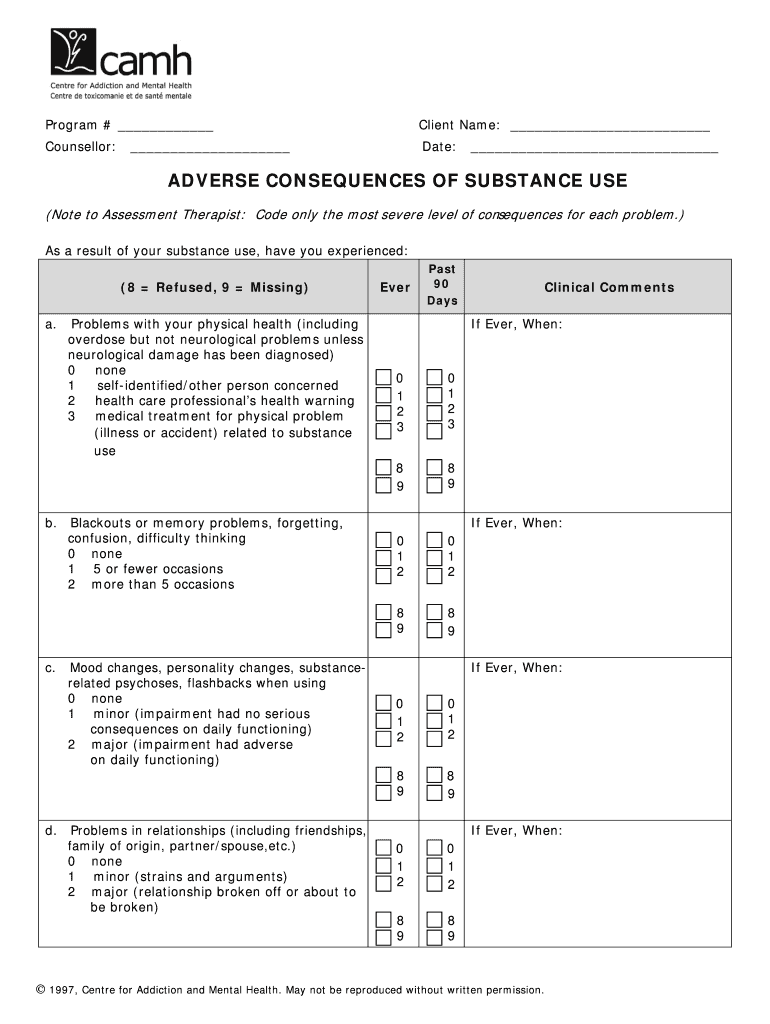 Adverse Consequences Of Substance Abuse Questionnaire Pdf Adat