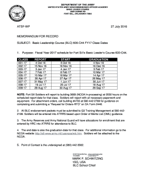 Fillable Online BLC - Fort Sill - Army Fax Email Print