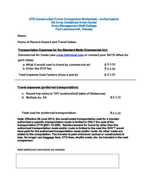 Fillable gsa travel cost comparison worksheet - Edit Online ...
