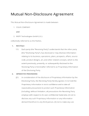 Fillable Online Mutual Non Disclosure Agreement Mvp