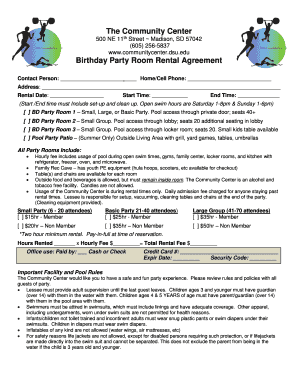 The Community Center Birthday Party Room Rental Agreement Fill