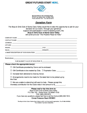 Fillable Online Donation Form - bgclubscv org Fax Email