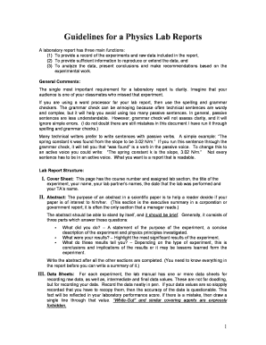 Fillable Online Guidelines for a Physics Lab Reports Fax Email Print ...