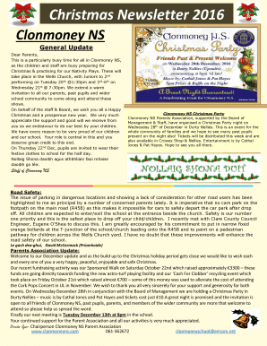 Newsletter Templates For School I Clonmoney National School Fill