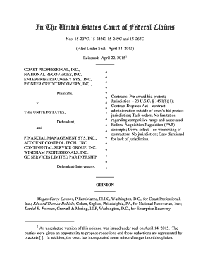 fillable online in the united states court of federal claims
