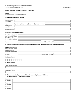 Fillable Online CRS Controlling Person Self-Certification Form