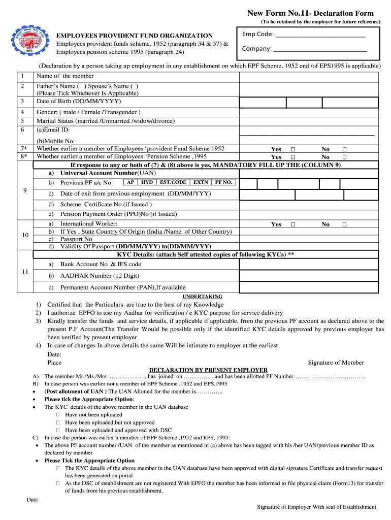 Epf Contribution Form A