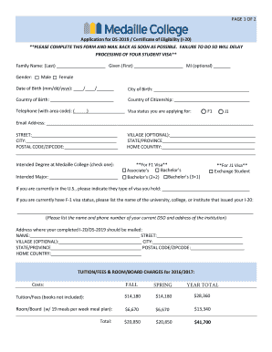 Fillable Online Application for DS-2019 / Certificate of