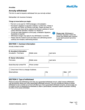 2017 Form MetLife AnnWithdrawal Fill Online, Printable, Fillable ...