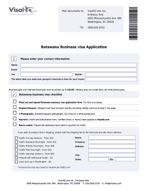 Fillable Online Botswana Business Visa Application Botswana Visahq Com Fax Email Print Pdffiller