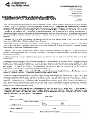 Printable physical examination form for employment - Edit