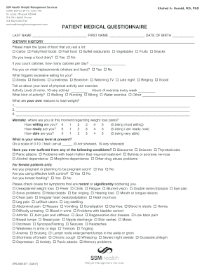 fillable online patient medical questionnaire ssm health fax email