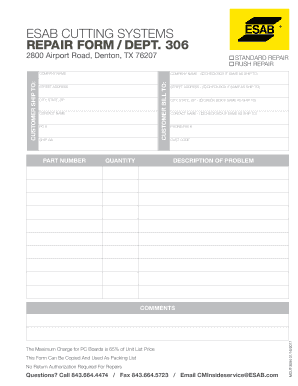 Fillable Online Esab Cutting Systems Repair Form Dept 306 Fax
