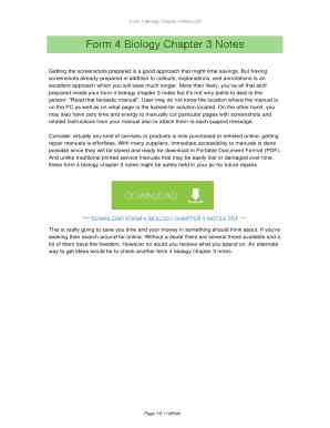 Fillable Online Form 4 Biology Chapter 3 Notes PDF  FORM 4