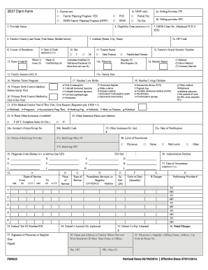 fillable online f00025 2017 family planning claim form doc fax email