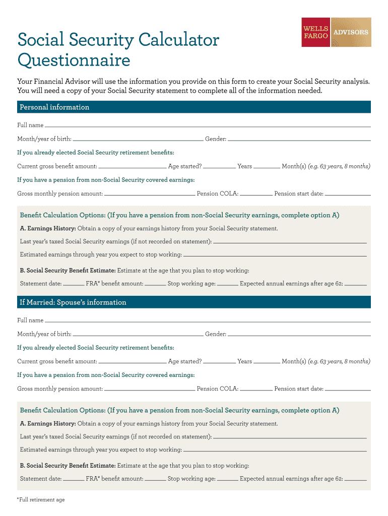 Social Security Calculator Questionnaire - Virginia Lynn