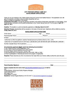 Fillable Online City Trekker Spring Camp 2017 Scholarship