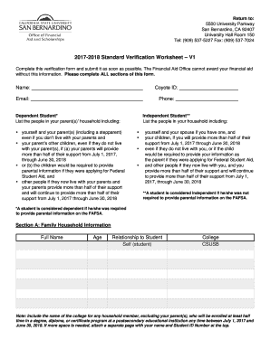 Fillable online standard verification worksheet financial aid rate this form ibookread Read Online