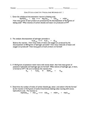 Fillable Online Honors Chemistry-Stoichiometry Problems Worksheet I