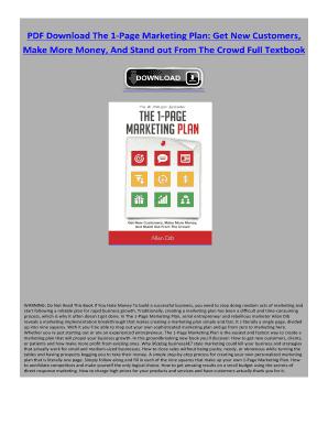 the 1 page marketing plan allan dib pdf free download