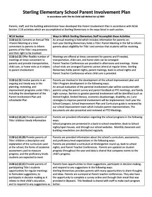 Sterling elementary school parent involvement plan for Parent involvement plan template